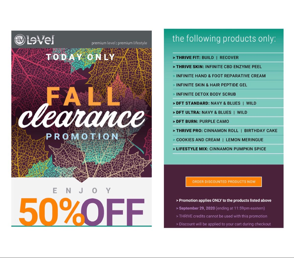 TODAY ONLY!!! Stock up and Save 50% on these selected Thrive products. What an incredible deal! #thrive #promotion #joinmyteam #askmehow