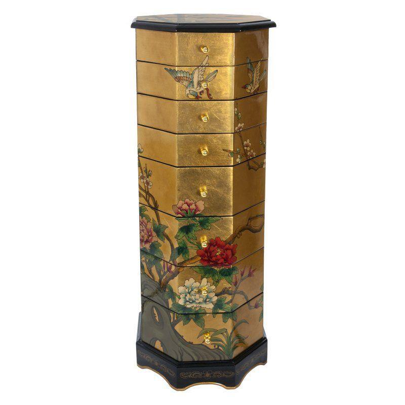 Oriental Furniture Gold Leaf Jewelry Armoire LCQCBGDJWCAB