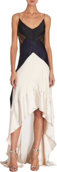 Narciso Rodriguez Colorblocked Highlow Gown in Blue (IVORYBONE) - Lyst