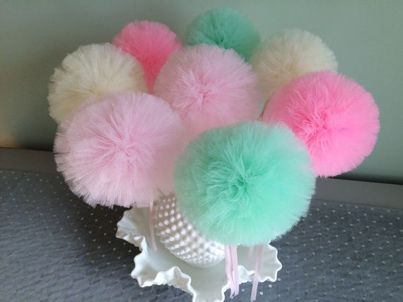 Tulle Pom Pom Wands Bouquet, Ice Cream Birthday Decorations, Party Favors, Set of 8