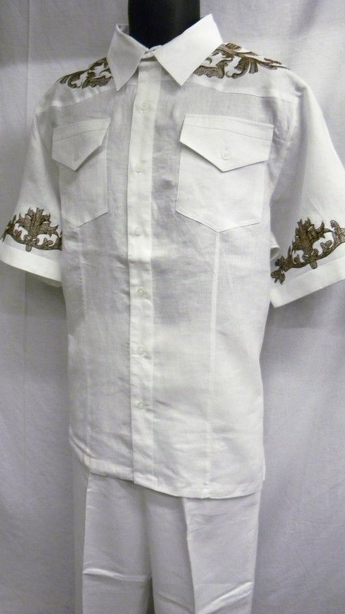 Royal Prestige Mens White Embroidered Irish Linen Outfit