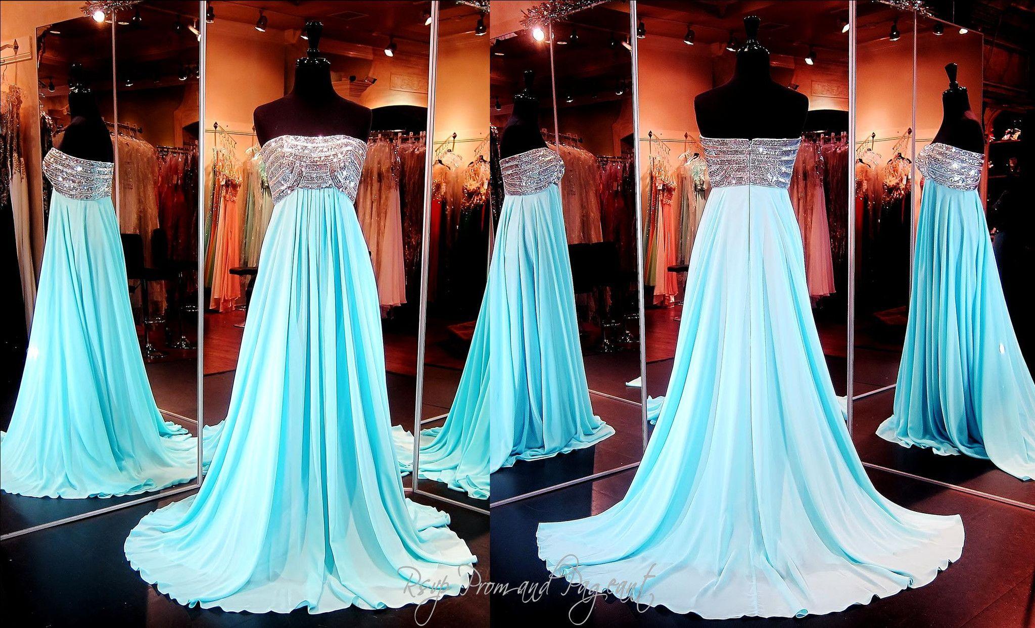 Aqua Chiffon Strapless Evening Gown-Empire Waist-Silver Beaded Top ...