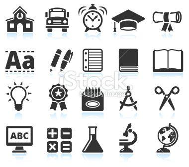 Education And School Supplies Black Amp White Vector Icon Set Stock Vector Art 25805345 Icon Set Vector School Illustration School Supplies