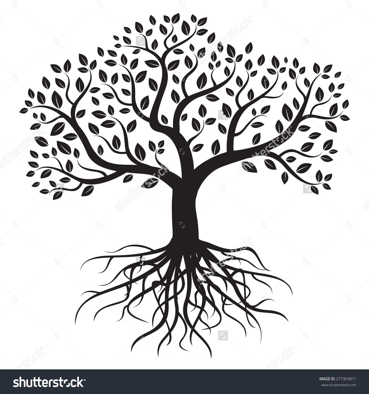 Black vector tree with roots and leafs. Dessin arbre de