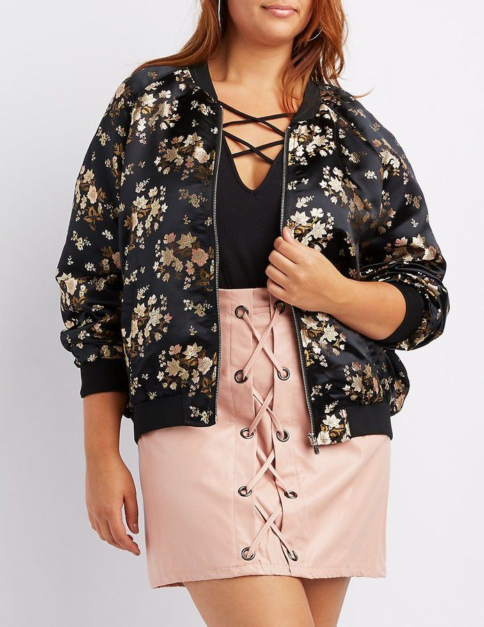 df097a1c48c Charlotte Russe Plus Size Satin Brocade Bomber Jacket