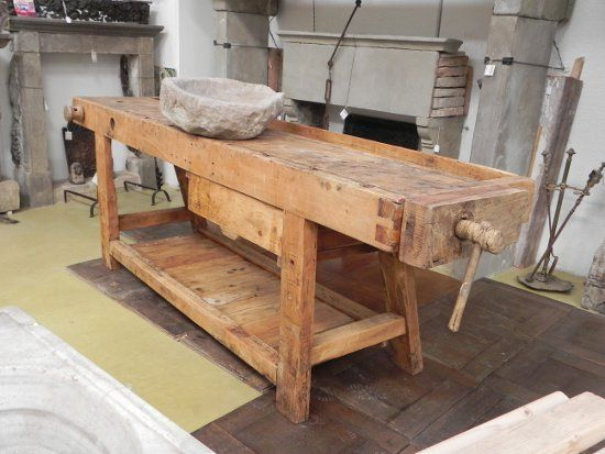 Tavolo Da Lavoro Antico : Antico banco da lavoro tavolo da falegname villas