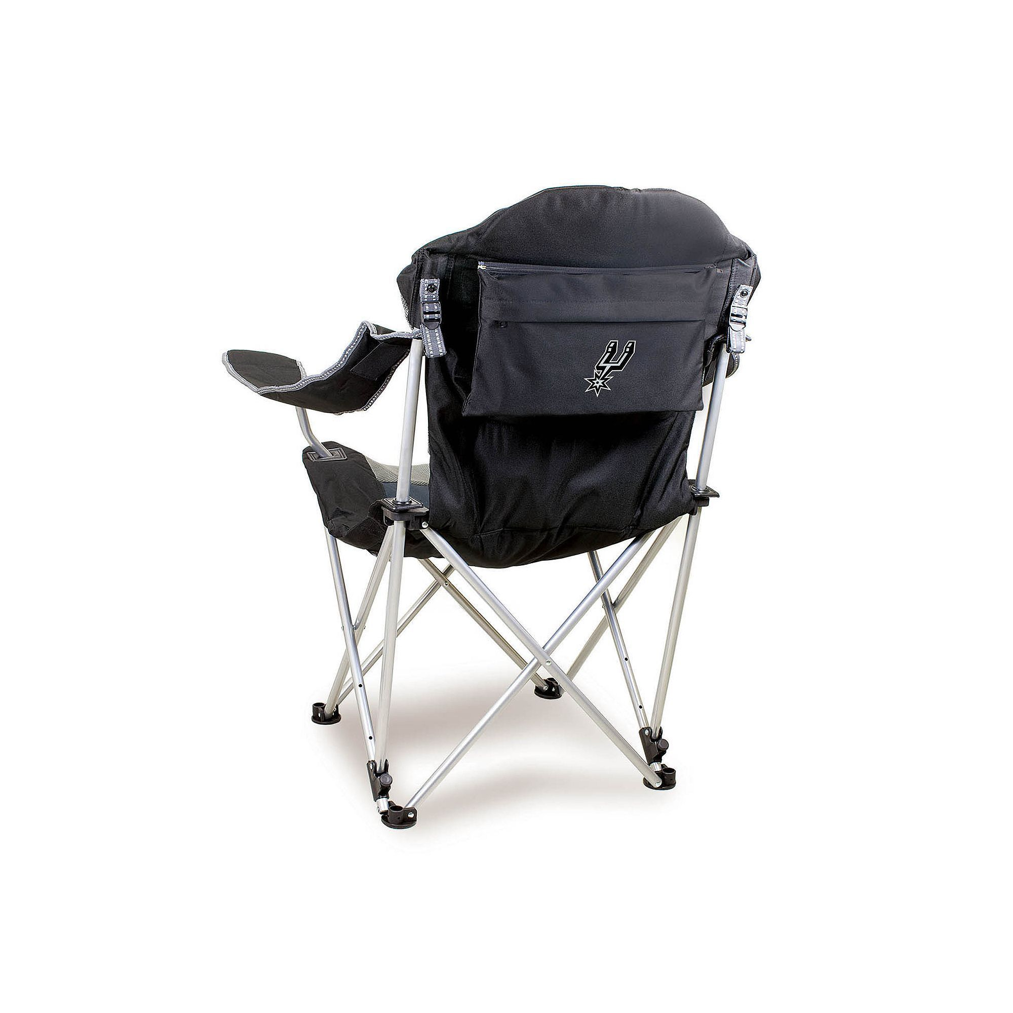 Outdoor Picnic Time San Antonio Spurs Reclining Camp Chair Black