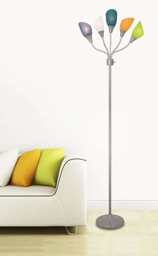 Light accents medusa silver floor lamp with multicolor acrylic shades aloadofball Images