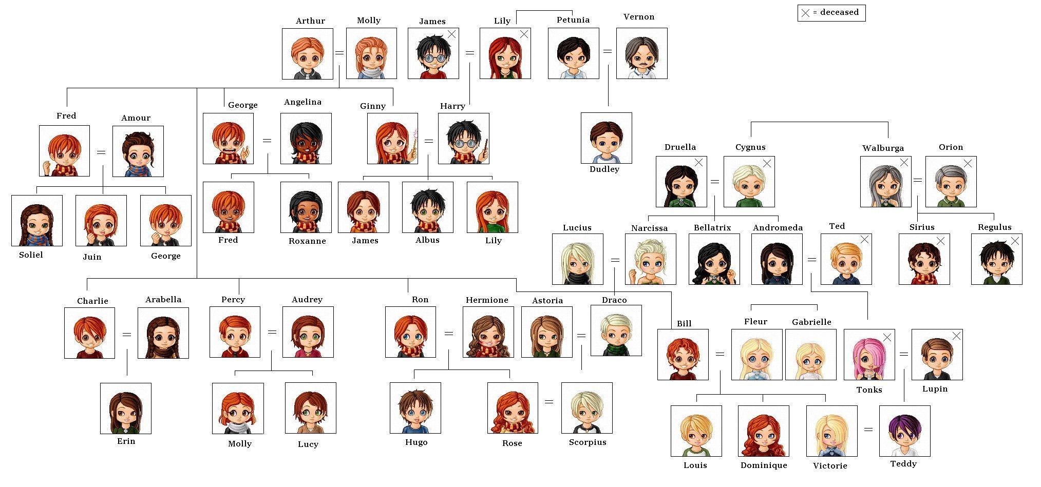 Harry Potter Family Tree Arbol Genealogico Humor Dibujos