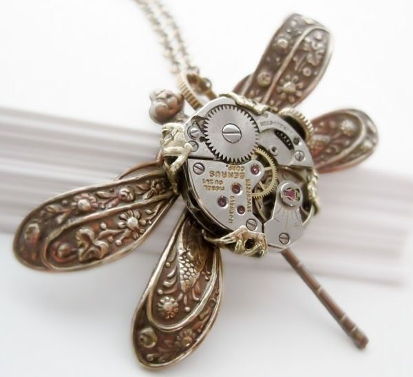 Steampunk dragonfly necklace, Victorian steampunk jewelry ...