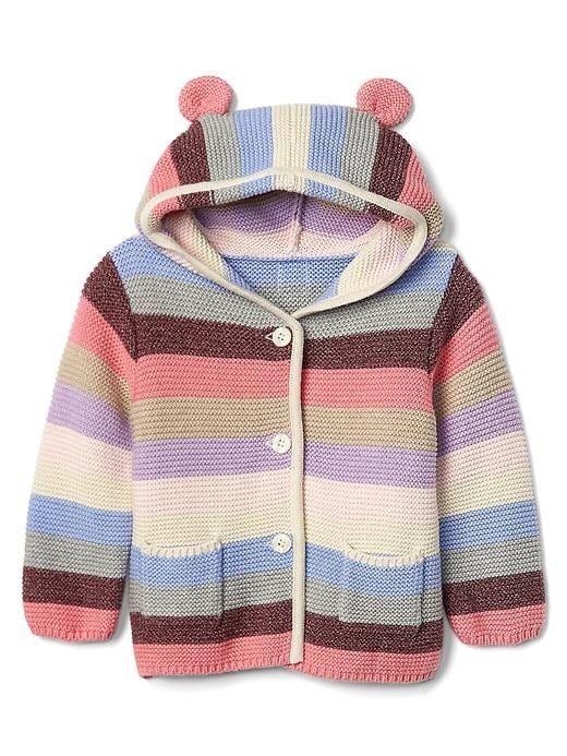 e104bce552e8b Gap Baby Stripe Bear Garter Sweater Pink Multi Stripe