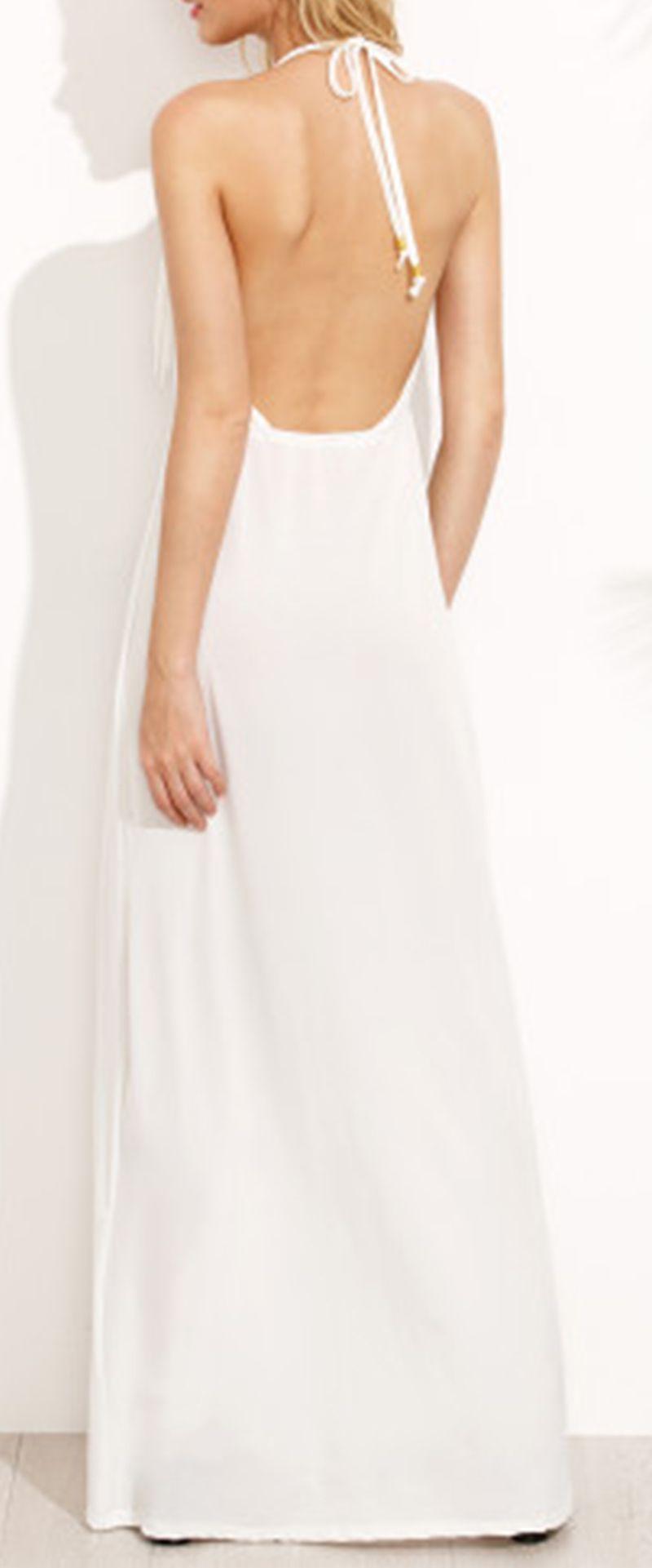 White Halter Neck Backless Fringe Dress