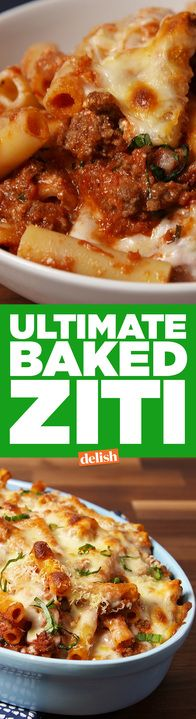 This Ultimate Baked Ziti is the best thing to do with a box of pasta. Get the recipe from Delish.com.