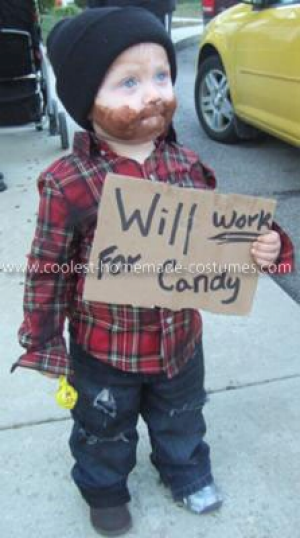 Will work for candy funny halloween costumes for kids for Easy homemade costume ideas for kids