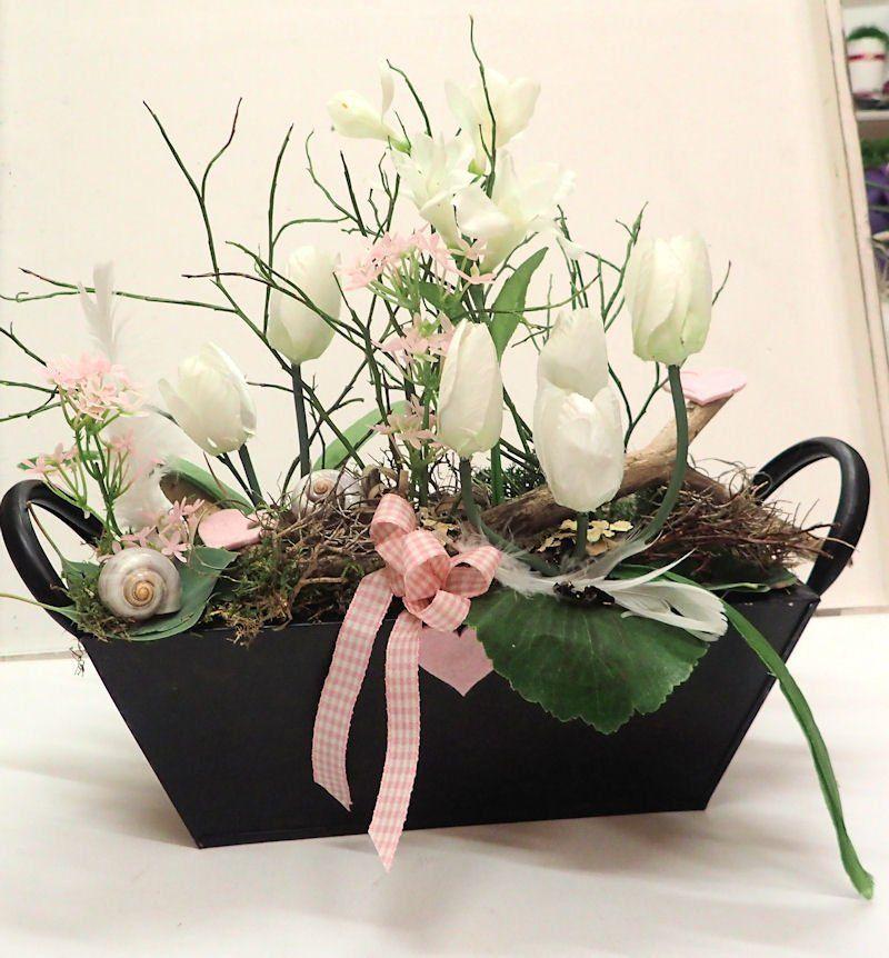 Gesteck Weisse Tulpen Fruhlings Dekoration Fruhling Deko