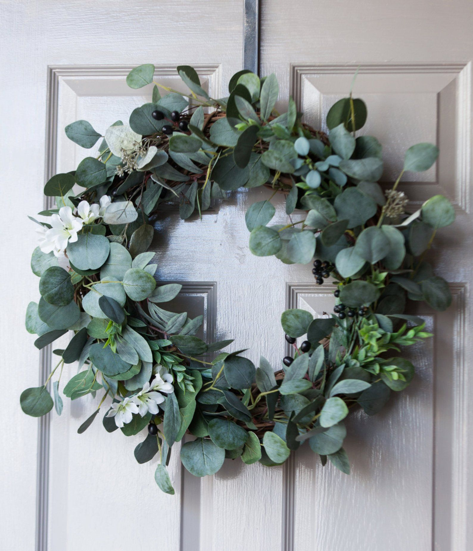 Photo of Eucalyptus wreath / spring wreath / summer wreath / autumn wreath / winter wreath / farmhouse / green wreath / wreath / housewarming gift
