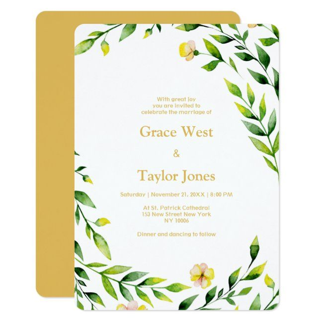 Modern spring green yellow outdoors floral Wedding Invitation