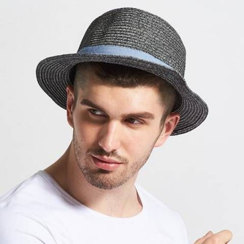 b7daf5c6fa3 Gray straw panama hat for men handsome package summer beach hats ...