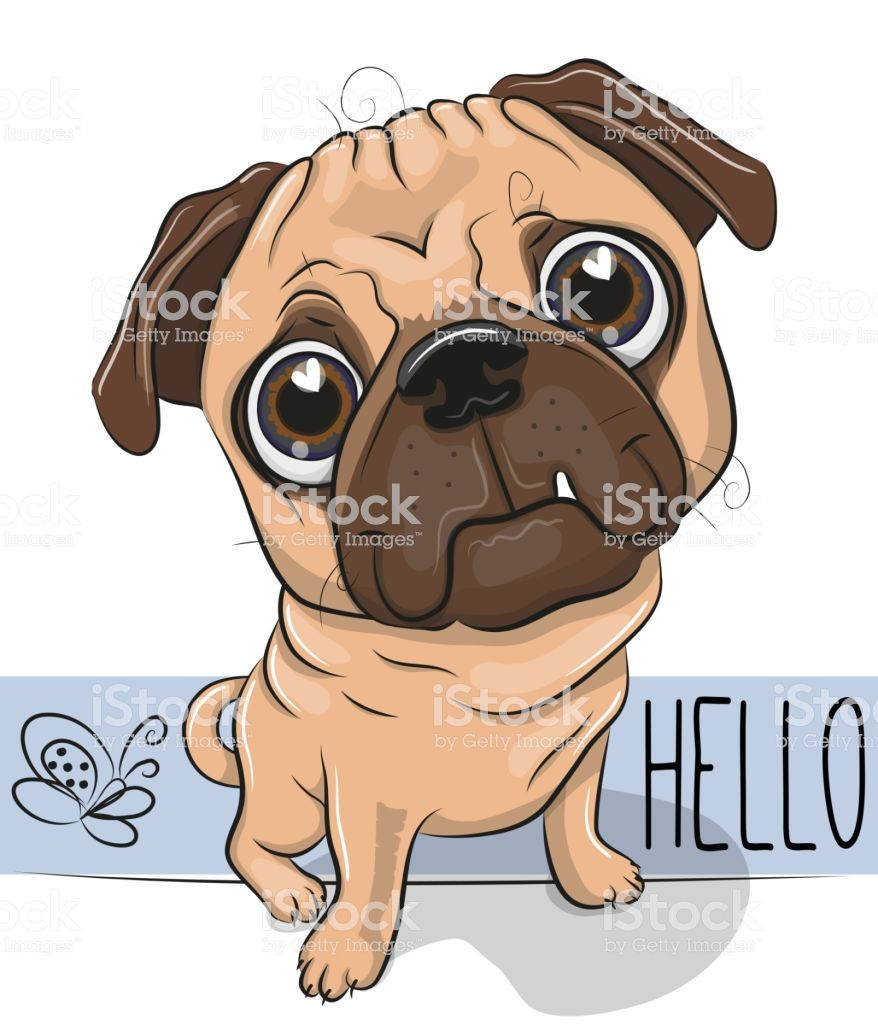 Cute Cartoon Pug Dog Isolated On A White Background Pugs Pug