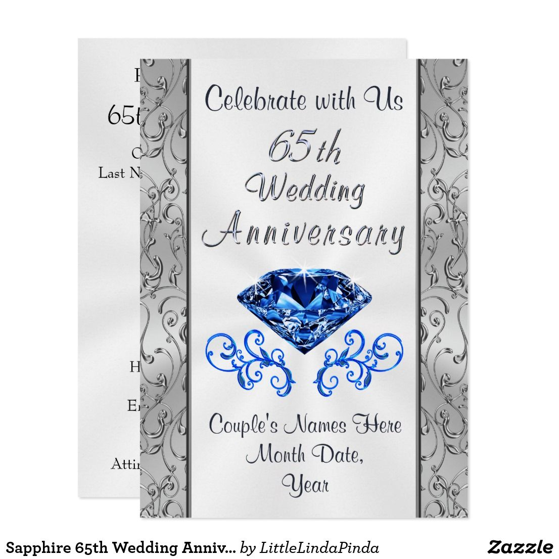Stunning 65th Wedding Anniversary Invitations Personalized Click Image Or GO HERE