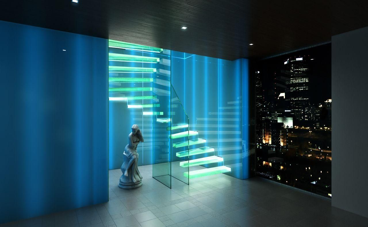 Treppen Frankfurt led cantilevered stairs with glass treads by siller treppen