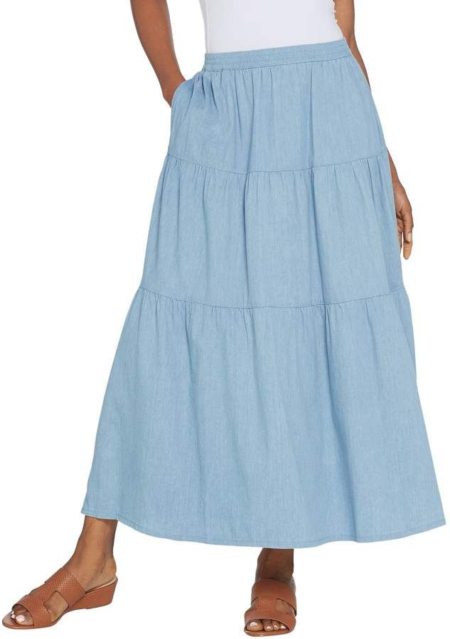 50dc1728d29 Denim   Co. Regular Stretch Chambray Tiered Pull-On Maxi Skirt in ...