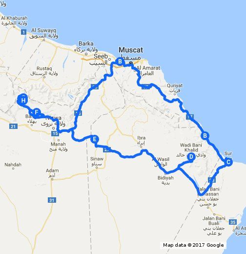 oman road trip itinerary our projected route through oman for 8