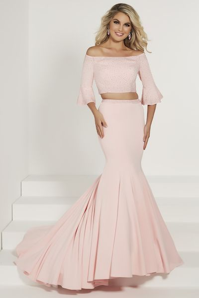 f506fc13ff15 Tiffany Exclusive 46190 - Pageant Planet Silhouette  Mermaid Neckline  Off -the-Shoulder Waist Style  Natural Dress Length  Long Fabric  Specialty  Color  ...