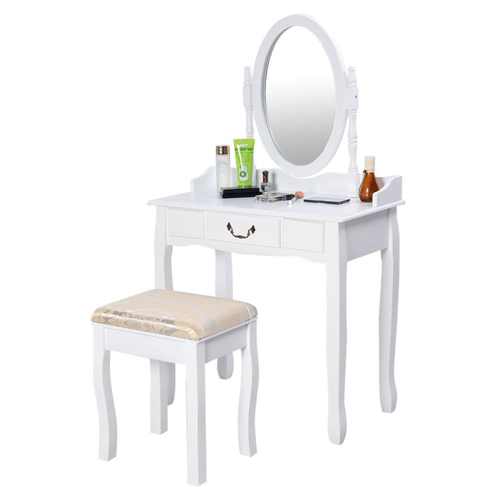 White piece vanity makeup table dresser stool mirror set bedroom