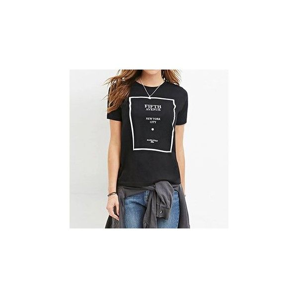 Lettering T-Shirt (£10) ❤ liked on Polyvore featuring tops, t-shirts, tees, women, black t shirt, black tee, polyester t shirts, black top and letter t shirts