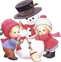 Hóember, gyerekek, tél