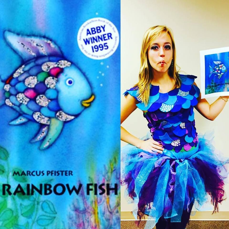 Diy rainbow fish costume rainbow fish diy halloween for Fish for girls