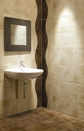 Matt Finish, Beige Porcelain Wall & Floor Tile - Ignore the brown wave - we would just use the 30X60 tile laid in a straight format