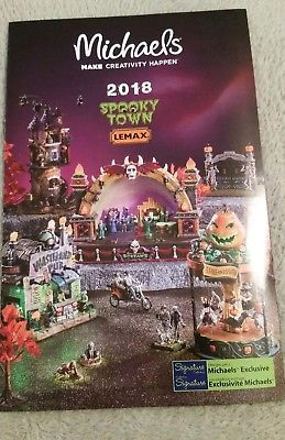 2018 LEMAX SPOOKY TOWN HALLOWEEN VILLAGE Michael's Brochure Catalog #affilink #halloween #happyhalloween #halloween2017 #trickortreat #halloweenparty #halloweenmakeup #halloweenmakeupideas #halloweencostume #halloweengiveaway #halloweencontest #halloweenparty #halloweentheme #halloweennight #halloweenhaunt #halloweendecorations #halloweenfun #halloweencandy #halloween #halloweenmask #halloweenbaby #halloweentown #halloweenspirit #outdoordecorations #halloweenvillage