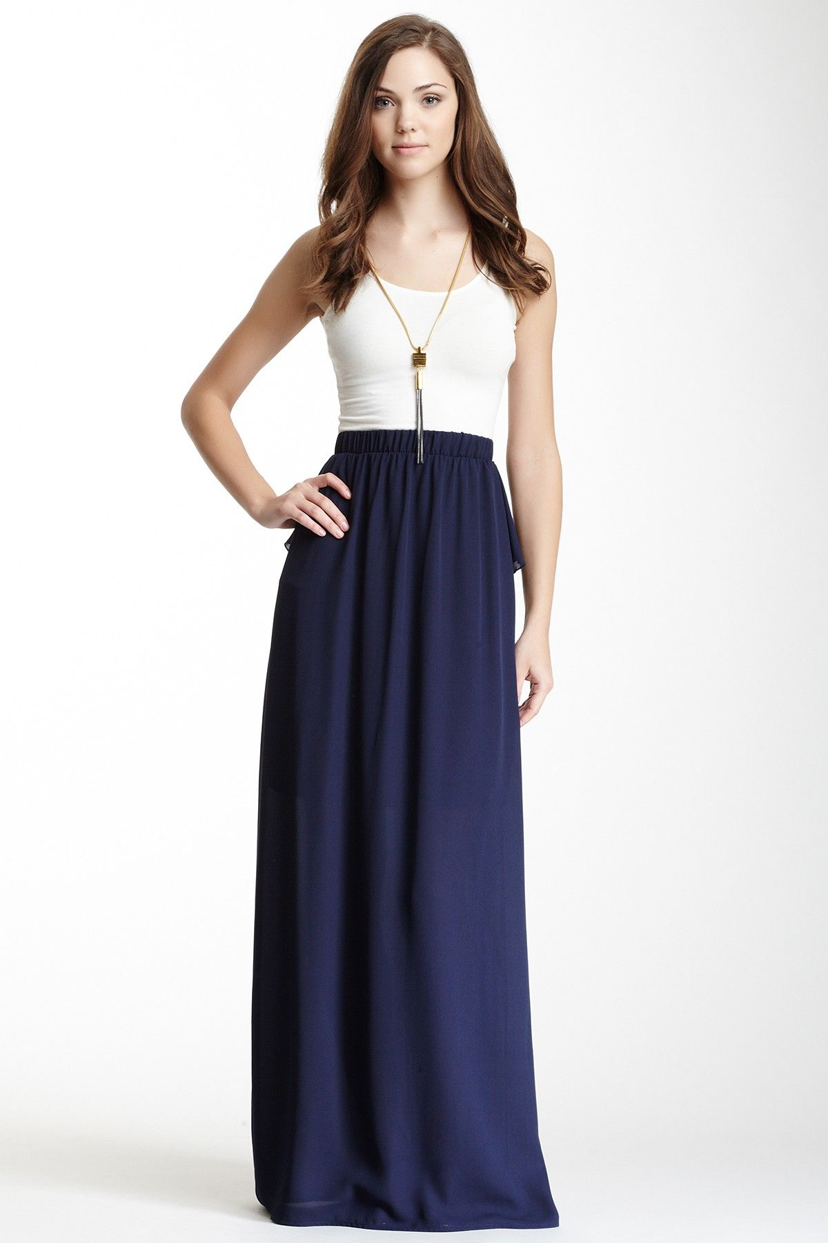 Just Skirts And Dresses Inspiration: White Top With Blue Maxi Skirt And Tassel Necklace