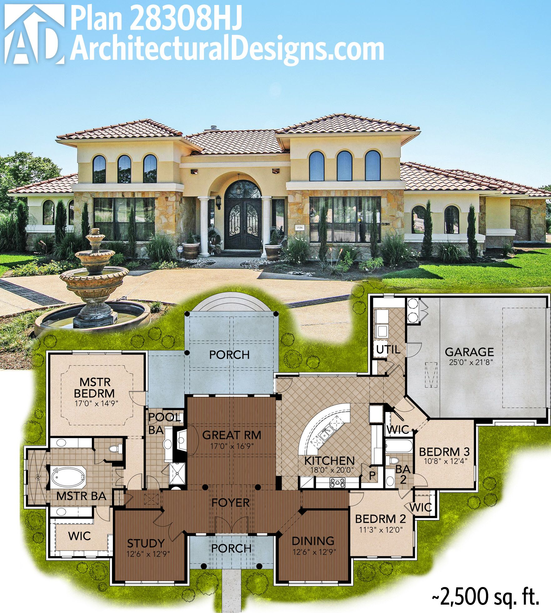 Mediterranean Style House Plan: Great Symmetry With Architectural Designs Mediterranean