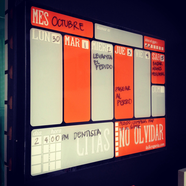 Calendario organizador Agenda 2014 pintarrón// acrílico
