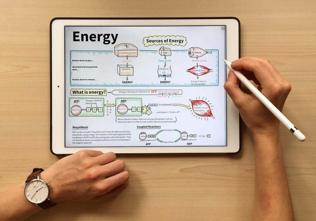 Making notes on energy systems on my ipad pro using two