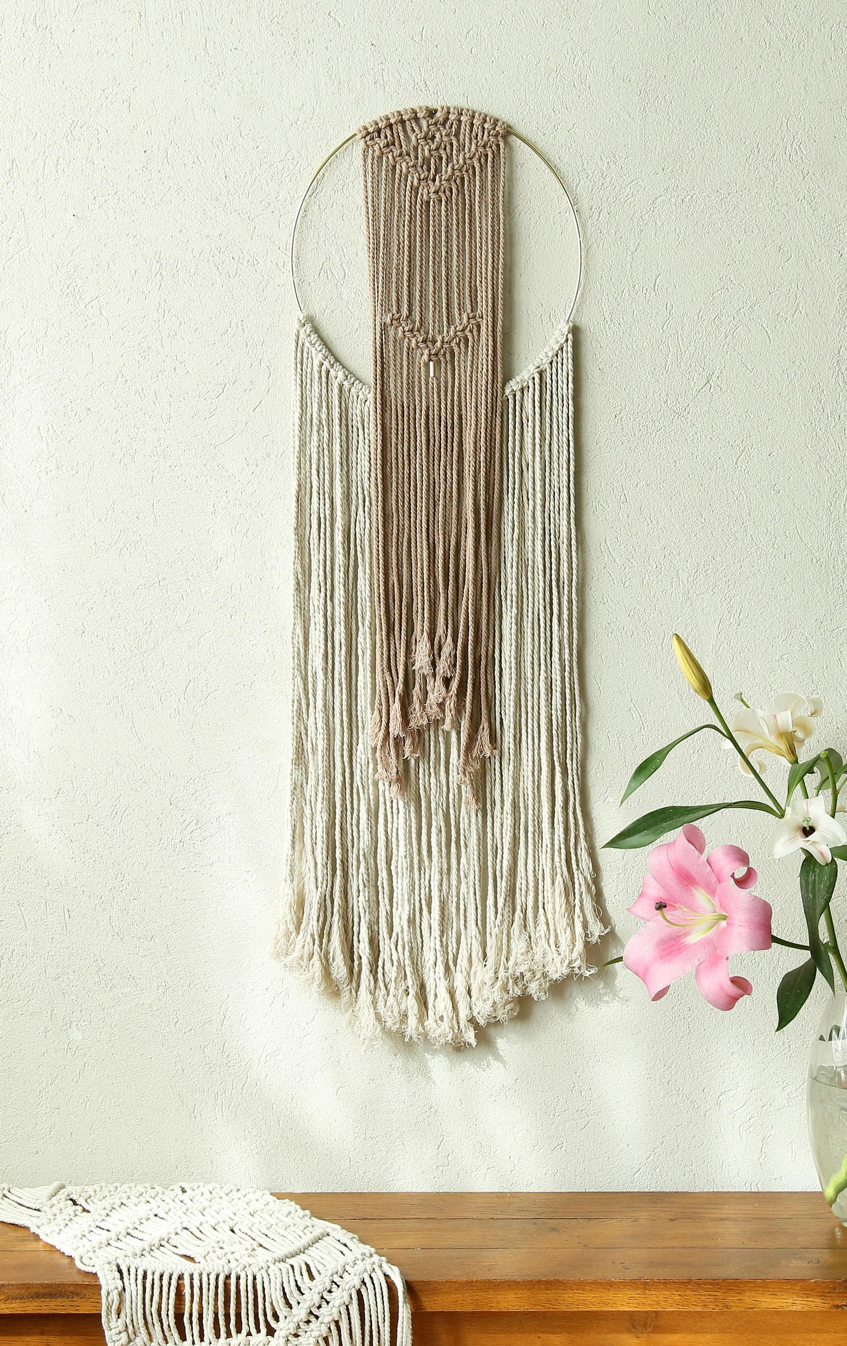 Gold Ring Wall Decor Off White And Pink Wall Art Macrame Wall