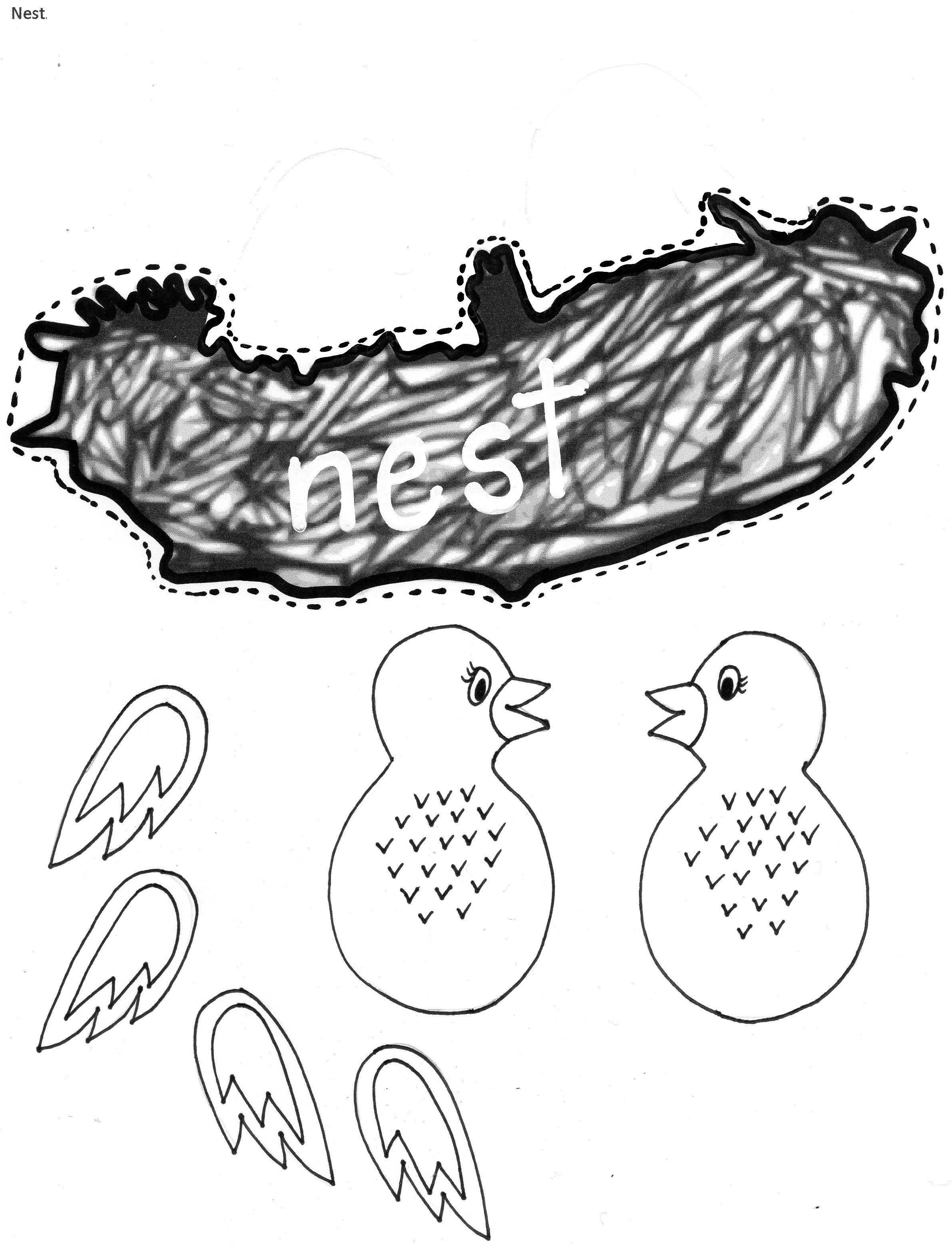 Nn nest craft activity for Letter of the Week. Baby birds