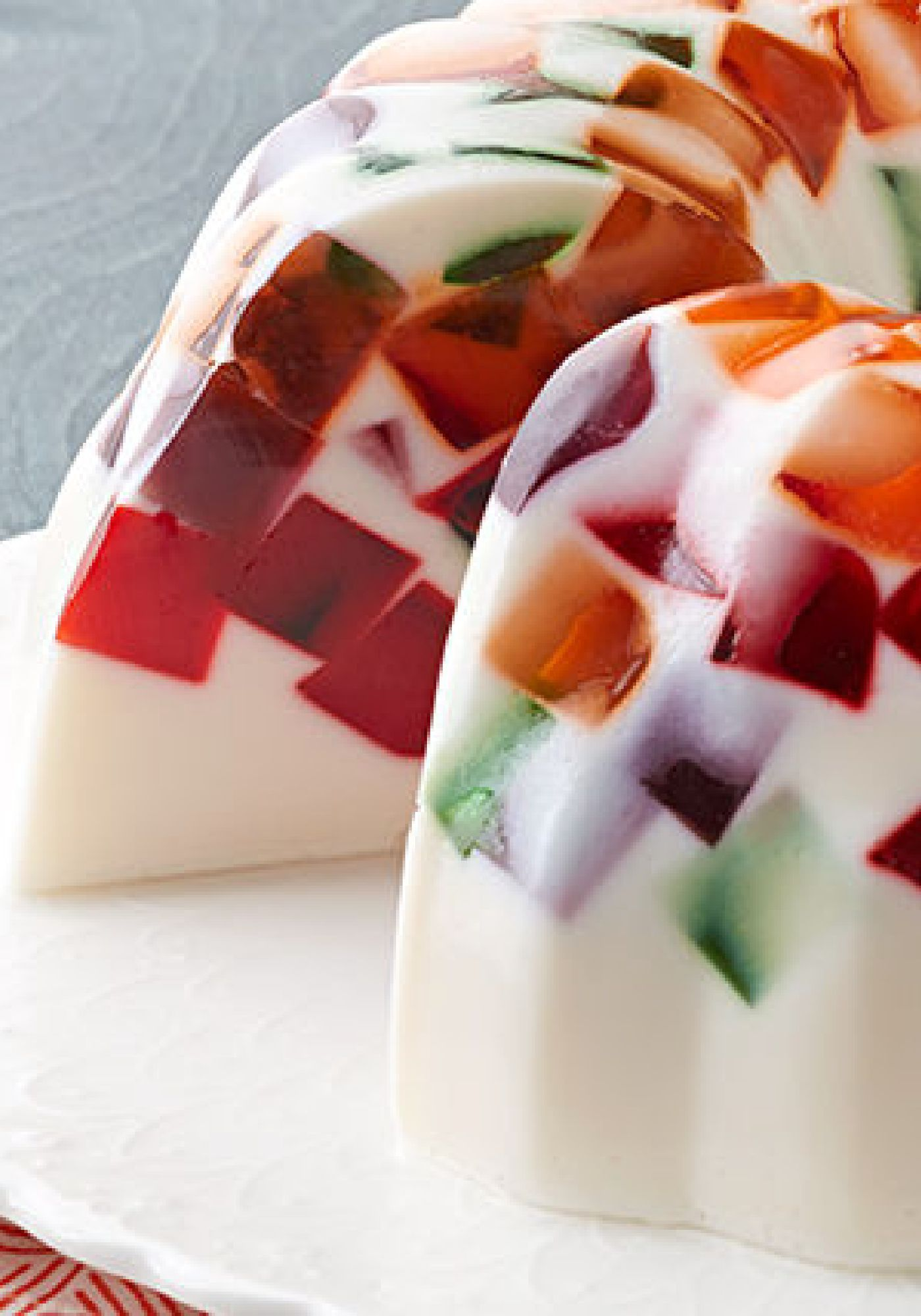 Creamy Jell O Mosaic Dessert Cubes Of Rainbow Hued Gelatin Give This Cool And Refreshing