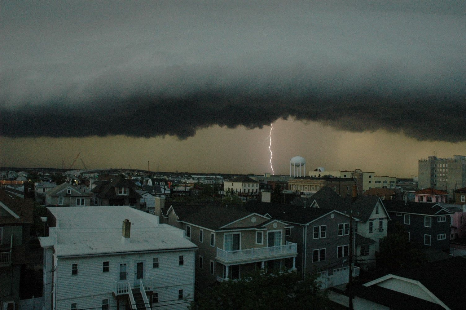 Lightning strike during storm in Ocean City, New Jersey | Hurricane