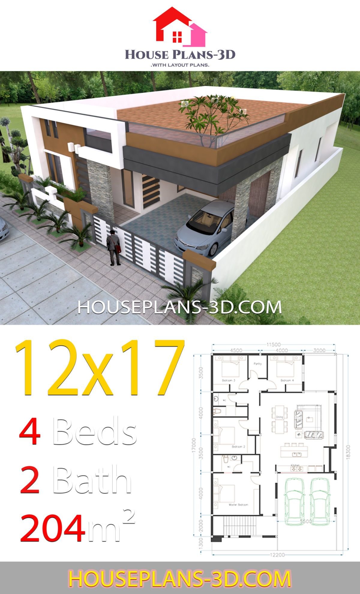House Design 12x17 With 4 Bedrooms Terrace Roof House Plans 3d In 2020 House Plan Gallery Modern House Plans Small House Design