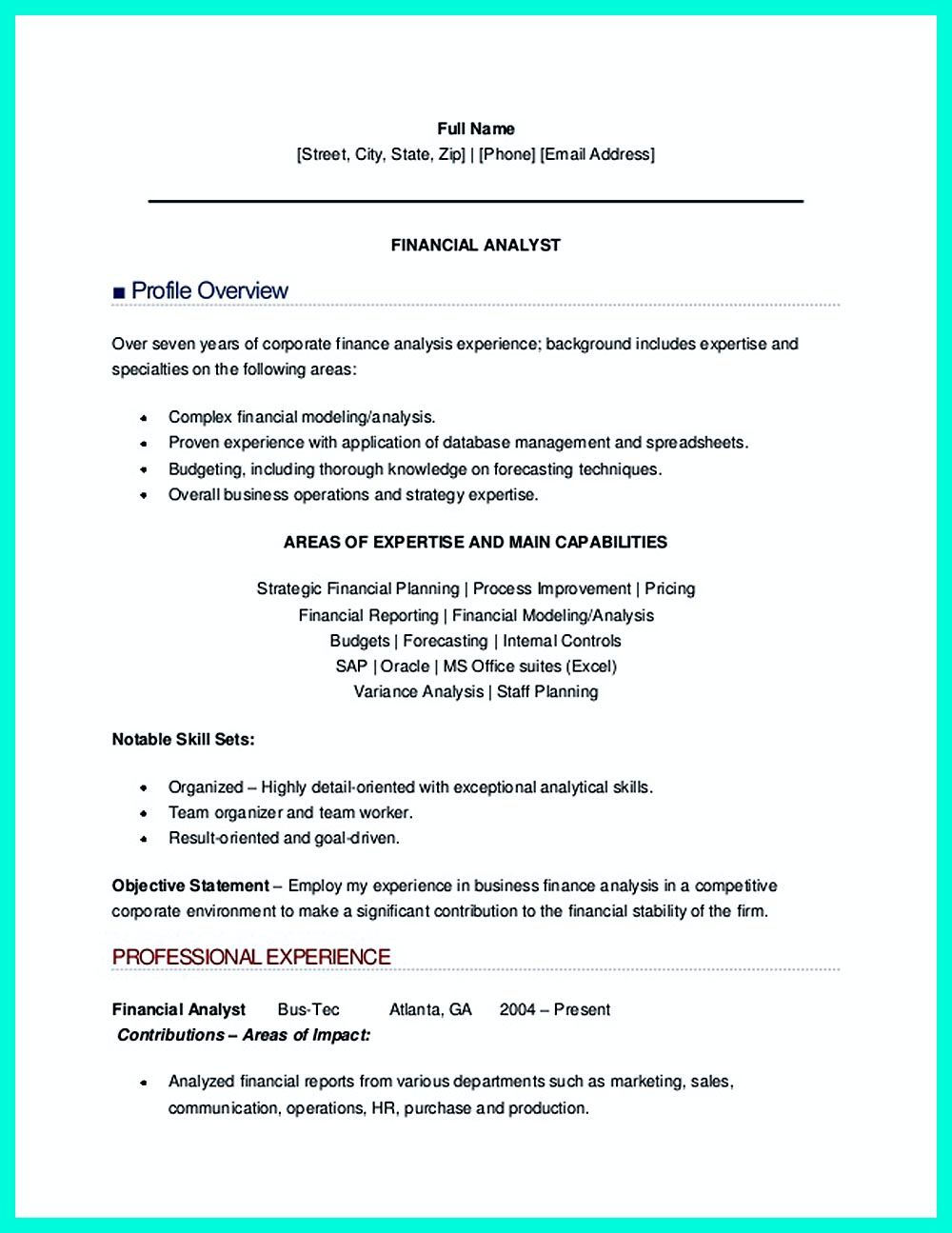 Financial Data Analyst Resume Resume Sample Of Finance Analyst  Data Analyst Sample Resume