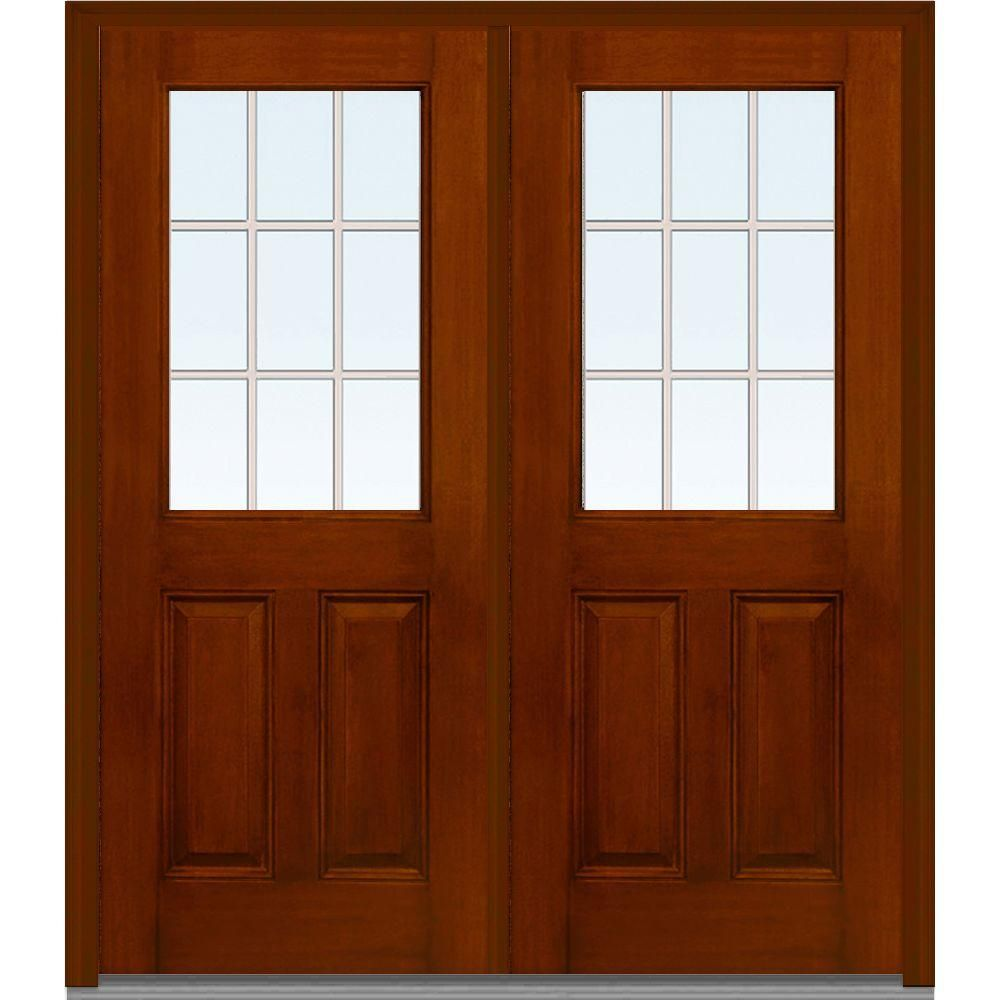 Milliken Millwork 72 In X 80 In Classic Clear Glass Gbg 1 2 Lite Finished Mahogany Fiberglass Double Prehung Front Door Warm Chestnut Wooden Window Frames Double Doors Exterior Oak Front Door