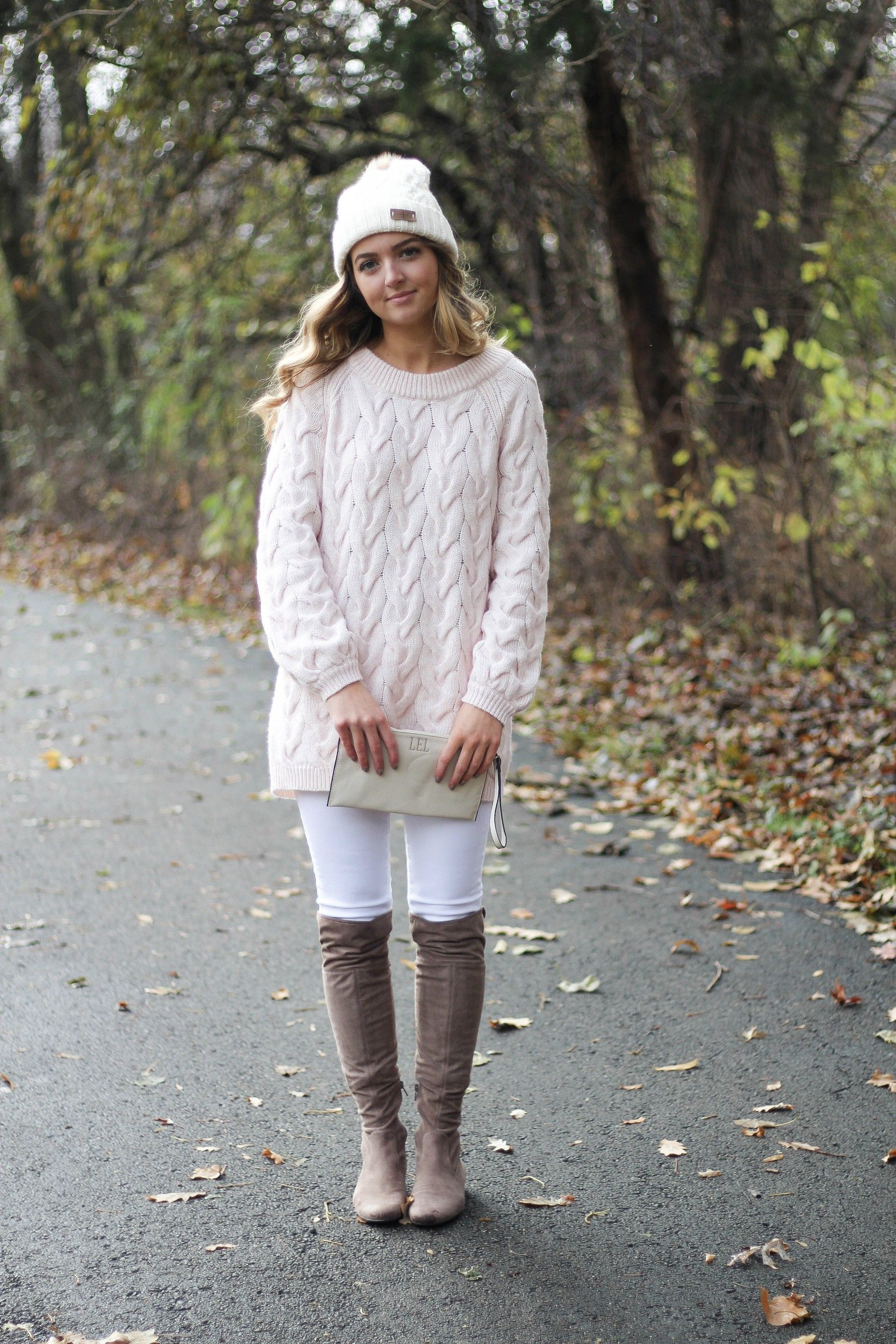 Pink cable knit sweater with white jeans and over the knee tan ...