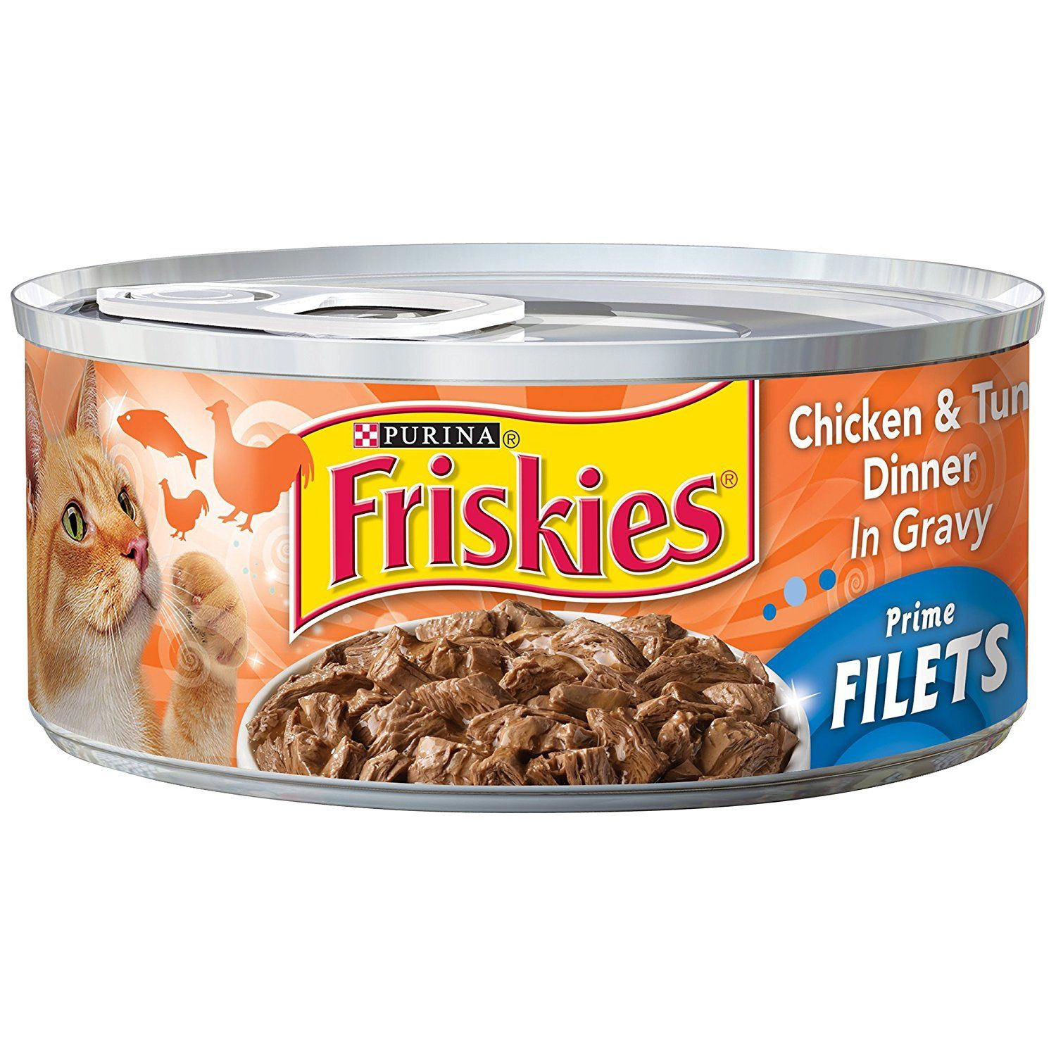 Friskies prime filets chicken and tuna in gravy canned cat
