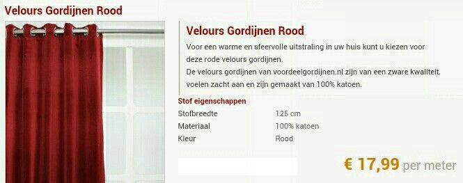 Rood Velours Gordijn van voordeelgordijnen.nl (http://www ...