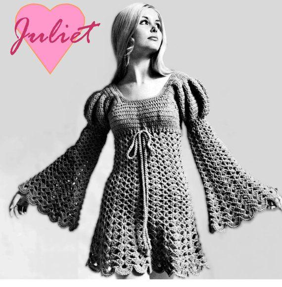 b4d14debaf4d4 Vintage 70's Crochet DRESS PDF Pattern Instant by KinzieWoolShop--like the empire  waist drawstring