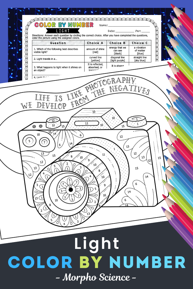 Light Color By Number Middle School Science Teacher Science Quotes Coloring Pages [ 1102 x 735 Pixel ]